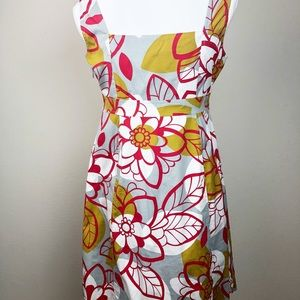 🏖 Anthropologie Maeve Floral Cotton Dress 8   C2